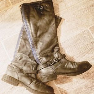 Madden Pewter Riding Boots w/Blue Zipper Size:6.5